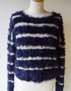 Sweter Włochaty Esprit M 38 Paski Granatowy Włochacz...