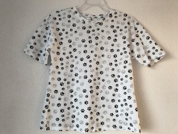 T-shirt biało czarny tshirt w psie łapki Reserved XS S nowa z metką