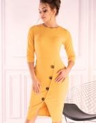 Sukienka z ozdobnymi guzikami yellow S M L XL ŻÓŁTA...