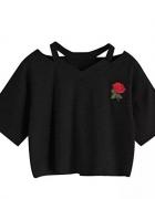 Czarny top z różą