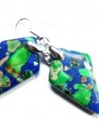 Niebiesko zielony jaspis cesarski oryginalne kolczyki...