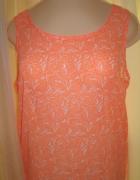 Top bluzka asymetryczna powiewna lato neon wzór kwiaty S...