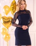 Elegancka GRANATOWA sukienka rękaw koronka S M L XL...