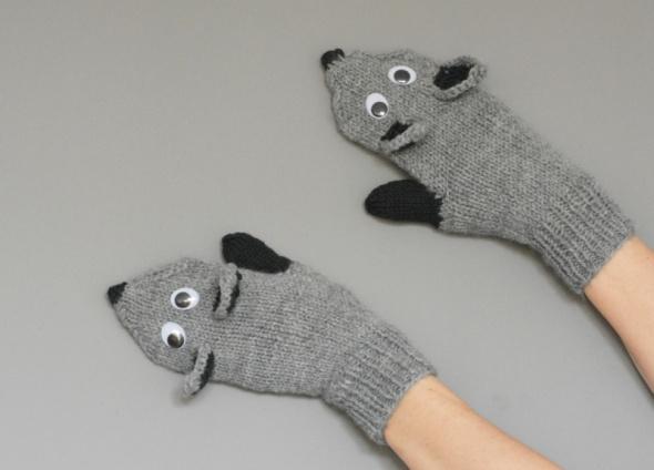 Rękawiczki liski z polarem