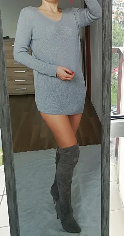 Dorothy Perkins szary asymetryczny sweter L XL...