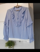 Zara błękitna bluzka falbanki koszula baby blue...