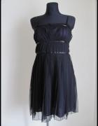 Sukienka plisy czarno fioletowa trzy warstwy 38 M ONLY...