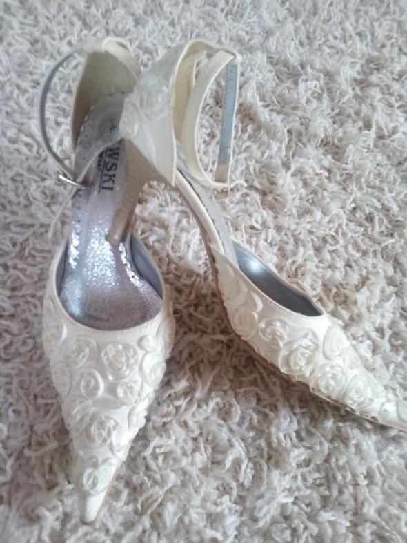 Buty ślubne Skórzane z jedwabną aplikacją szpilki 37