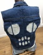 Katana jeansowa Kamizelka z czaszką...