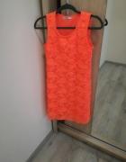 Neonowa sukienka koronkowa M nowa
