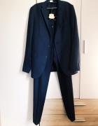 garnitur komplet Lavard 188 granatowy Voyageur Fashion 60 proc wełna