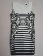 Mohito marynarska sukienka w paski ornament biała ołówkowa dopa...
