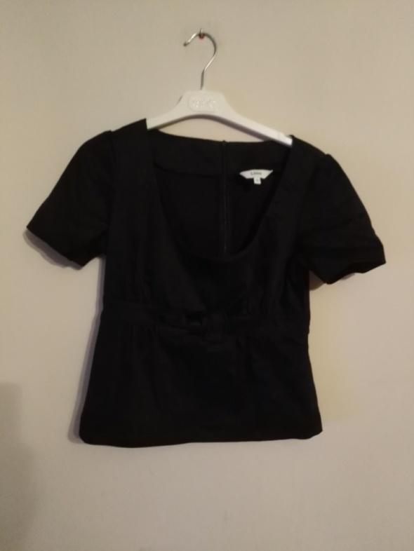 Lime 40 l czarna bluzka elegancka kokarda wizytowa bawełna