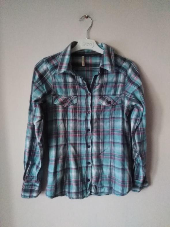 Denim Co 38 M koszula w kratkę niebieska bawełniana...