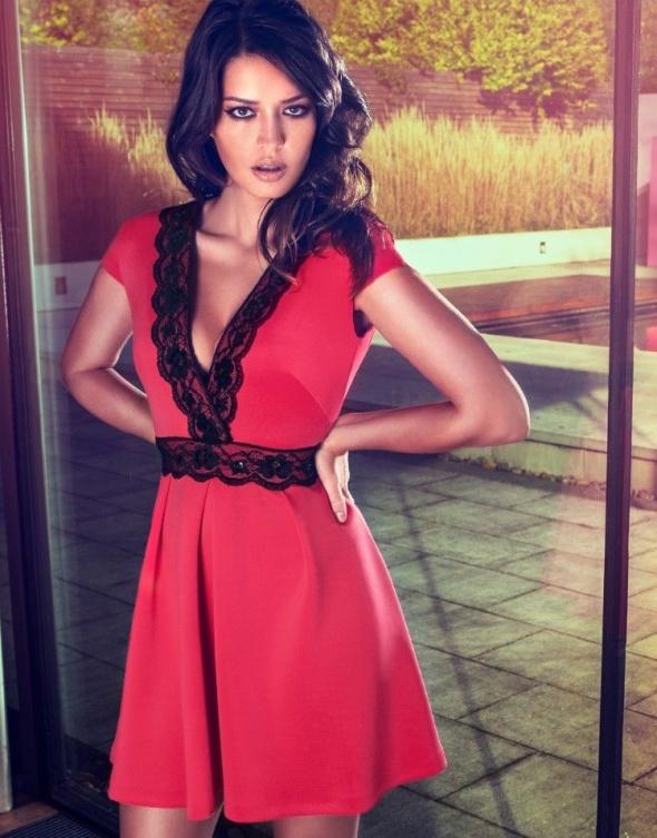 Lipsy Czerwona sukienka Koronkowa...