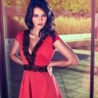 Lipsy Czerwona sukienka Koronkowa