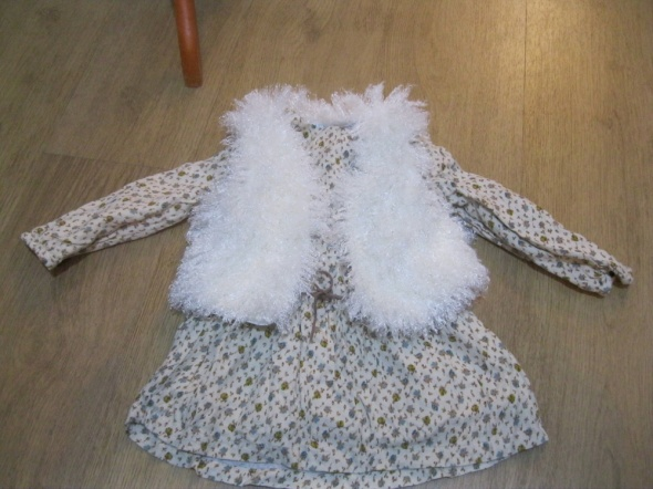 zestaw sukienka ZARA 92 kamizelka futrzana