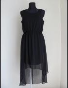 Czarna efektowna sukienka dłuższy tył pasy na plecach 40 L...