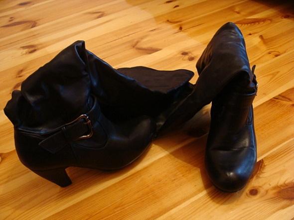 Kozaki Bardzo dlugie czarne kozaki za kolano stabilny obcas 41 futerko