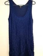 Granatowa haftowana mini sukienka koronka F&F S M...