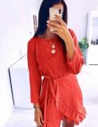 nowa czerwona kopertowa sukienka