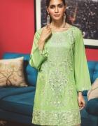Nowa tunika indyjska bawełniana L 40 zielona kameez perły prawd...