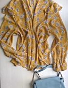 Miodowa bluzka w kwiaty z chokerem Primark rozm 46 48...