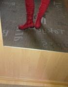 Nowe czerwone kozaki za kolano muszkieterki...