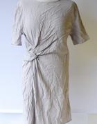 Sukienka H&M XL 42 Fioletowa Wiskoza Marszczona Wizytowa...