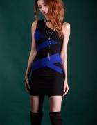 piękna sukienka bodycon modny kobalt czerń paski obcisła mini...