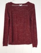 Bordowy sweter ze srebrną nitką M 38 czerwony prosty sweterek c...