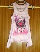 Tunika koszulka paski z nadrukiem fioletowa fiolet...