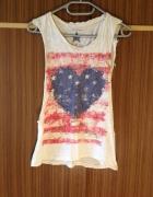 Amerykańska flaga bluzka biała nadruk obcięte rękawy rozcięte X...