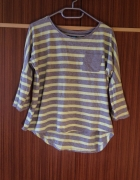 Chillin Crop L bluzka paski 40 luźny krój żółte szare szara uży...