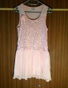 Tiul z cekinami sukienka pastelowy róż XS S M 34 36 38 blogerek...