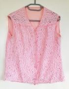 Top koszula koszulowy różowa koronkowa używana uszkodzona tani...
