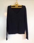 Bazowy basic czarny sweter dekolt V S M L 36 38 40 długi rękaw ...
