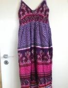 szelki azteckie wzory tunika XS S M długa sukienka...