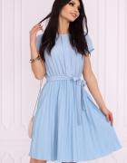 Klasyczna sukienka dół plisowany S M L XL XXL niebieska...