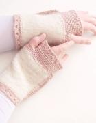 Kremowe mitenki z wełny ocieplacze na ręce...