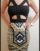 Sukienka ołówkowa Aztecka na imprezę sylwestra karnawał rozmiar...
