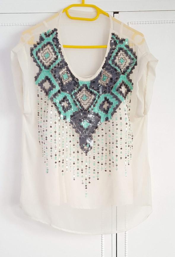 Biała bluzka Promod z cekinami 42 XL ozdobna zwiewna na lato to...