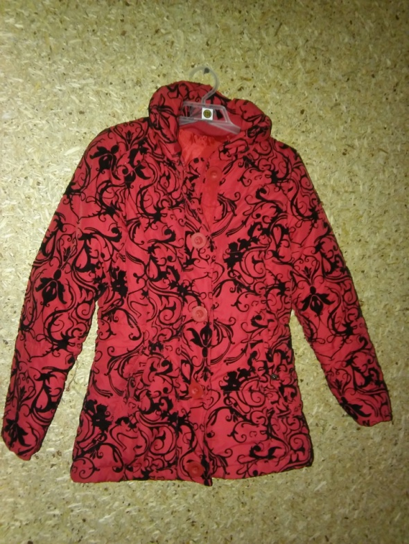 Kurtki Czerwona dziewczęca kurtka we wzot 134 cm 9 10 lat