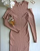 Kawowa prążkowana sukienka XS S M open shoulder...