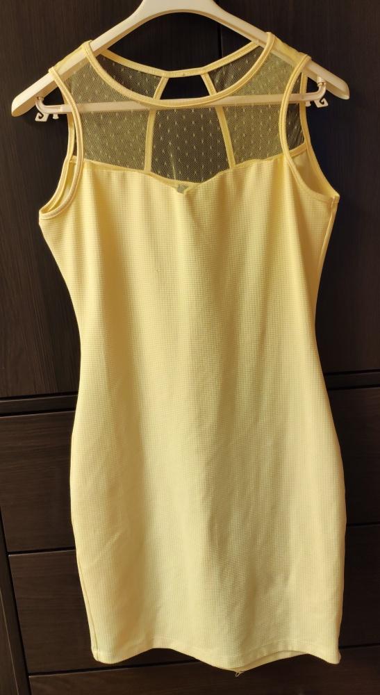 Żółta elegancka sukienka rozm 36 S Wesele Ślub Impreza Koronka