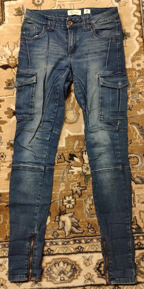 Spodnie jeansowe bojówki z kieszeniami długie rozm 36 Cdenim suwaki