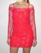 Czerwono złota koronkowa sukienka mini rozmiar S M