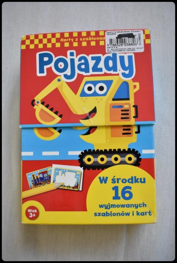 Zabawki POJAZDY karty z szablonami 16 sztuk dla dziecka