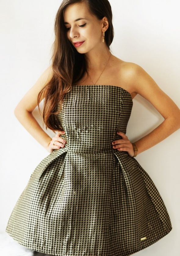 Suknie i sukienki sukienka złotoczarna M