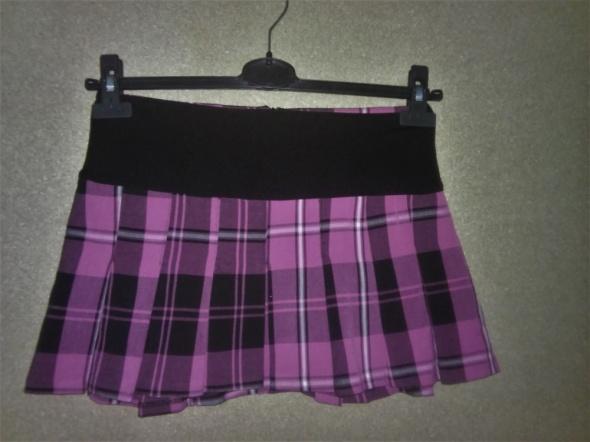 Różowo czarna plisowana mini spódnica sexi 34